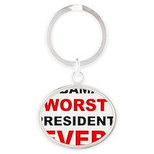 anti obama worst presdarkbumplL Oval Keychain