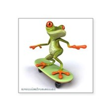 "Around Cairns Skater frog Square Sticker 3"" x 3"""