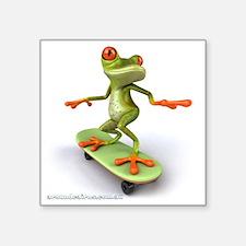 "Around Cairns Skater frog Square Sticker 3"" x 3"""
