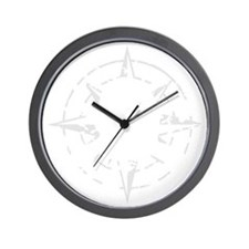 compass rose eroded skull pirate flag Wall Clock
