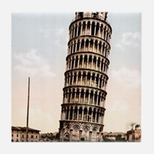 Vintage Leaning Tower Of Pisa Tile Coaster
