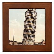 Vintage Leaning Tower Of Pisa Framed Tile