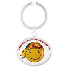 Sri Lankan Smiley Designs Oval Keychain