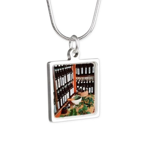 Herbal pharmacy Silver Square Necklace