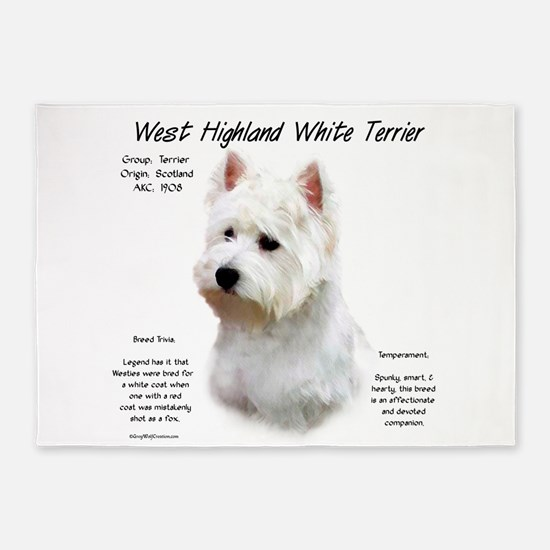West Highland White Terrier 5'x7'Area Rug