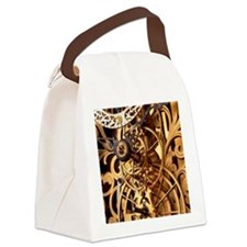 Internal gears within a clock Canvas Lunch Bag