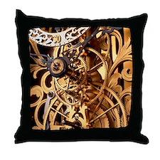 Internal gears within a clock Throw Pillow