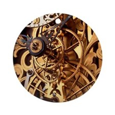 Internal gears within a clock Round Ornament