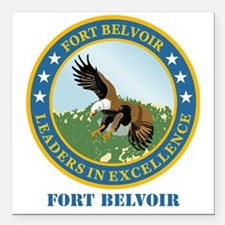 """Fort Belvoir with Text Square Car Magnet 3"""" x 3"""""""