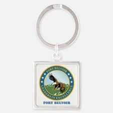 Fort Belvoir with Text Square Keychain