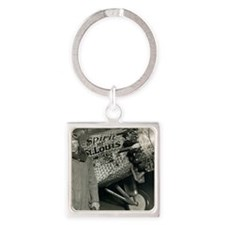 Lindbergh with his airplane, 1928 Square Keychain