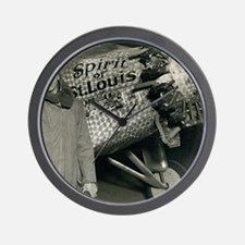 Lindbergh with his airplane, 1928 Wall Clock