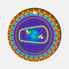 Illustration of the HIV retrovirus, Round Ornament