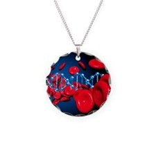 DNA and red blood cells Necklace Circle Charm