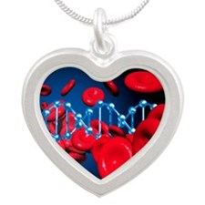 DNA and red blood cells Silver Heart Necklace