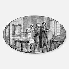 Johann Gutenberg, German inventor Sticker (Oval)