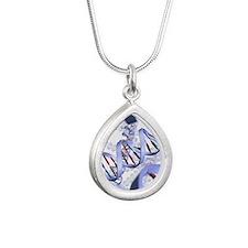 DNA helices Silver Teardrop Necklace