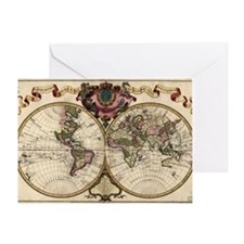Map of the world, 1720 Greeting Card