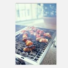 Barbecuing meat Postcards (Package of 8)