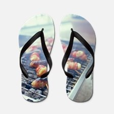 Barbecuing meat Flip Flops