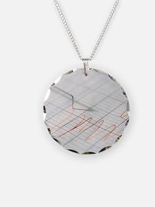 Lie detector traces Necklace Circle Charm