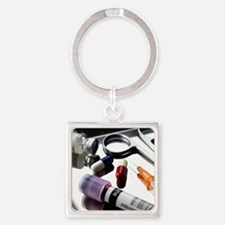 Medical equipment on a tray Square Keychain