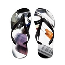 Medical equipment on a tray Flip Flops