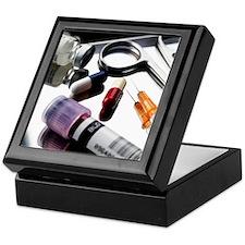 Medical equipment on a tray Keepsake Box