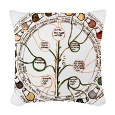 Medieval urine wheel Woven Throw Pillow