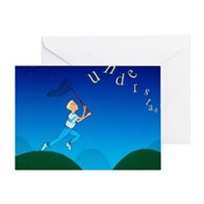 Abstract artwork of a dyslexic boy c Greeting Card