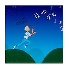 Abstract artwork of a dyslexic boy ch Tile Coaster