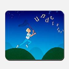 Abstract artwork of a dyslexic boy chasi Mousepad
