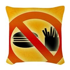 No fast food sign Woven Throw Pillow