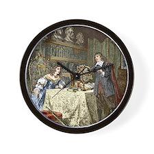 Rene Descartes and Queen Christina Wall Clock