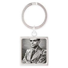 Alan Turing, British mathematician Square Keychain