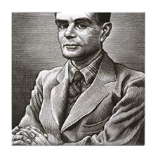 Alan Turing, British mathematician Tile Coaster