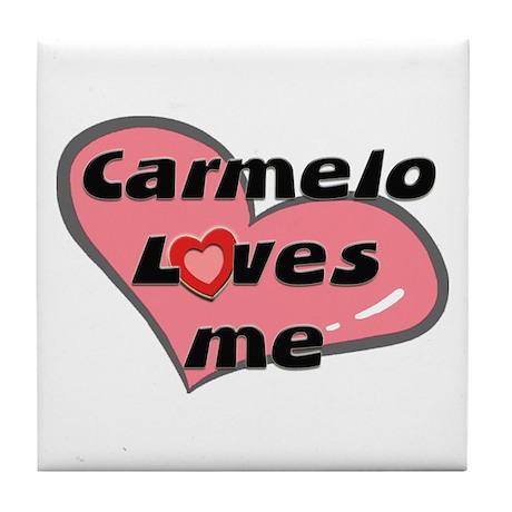 carmelo loves me Tile Coaster