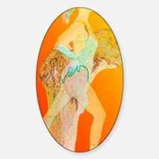 Abstract artwork of osteoporosis af Sticker (Oval)