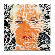 Abstract image of woman with shattere Tile Coaster
