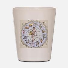 Medical zodiac, 15th century diagram Shot Glass