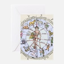Medical zodiac, 15th century diagram Greeting Card
