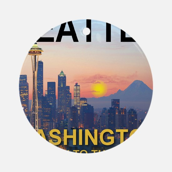 Seattle WA Skyline Graphics Sunset Round Ornament