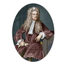 Sir Isaac Newton, British physicist Oval Ornament