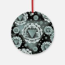 AIDS virus particles, computer artw Round Ornament