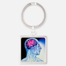Artwork of epilepsy seen as lightn Square Keychain