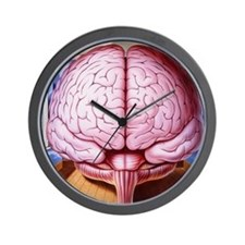 Artwork of human brain enclosed in drea Wall Clock
