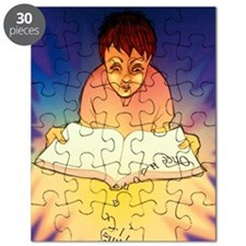 Abstract artwork of a dyslexic boy reading  Puzzle
