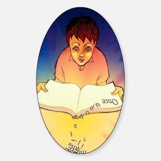 Abstract artwork of a dyslexic boy  Sticker (Oval)