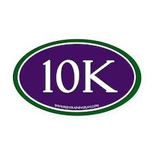 10K Running Achievement Purple/Gre Oval Car Magnet