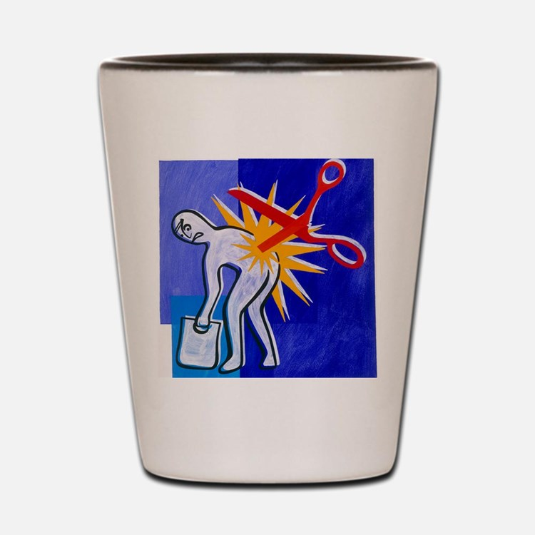 Abstract artwork depicting lower back p Shot Glass